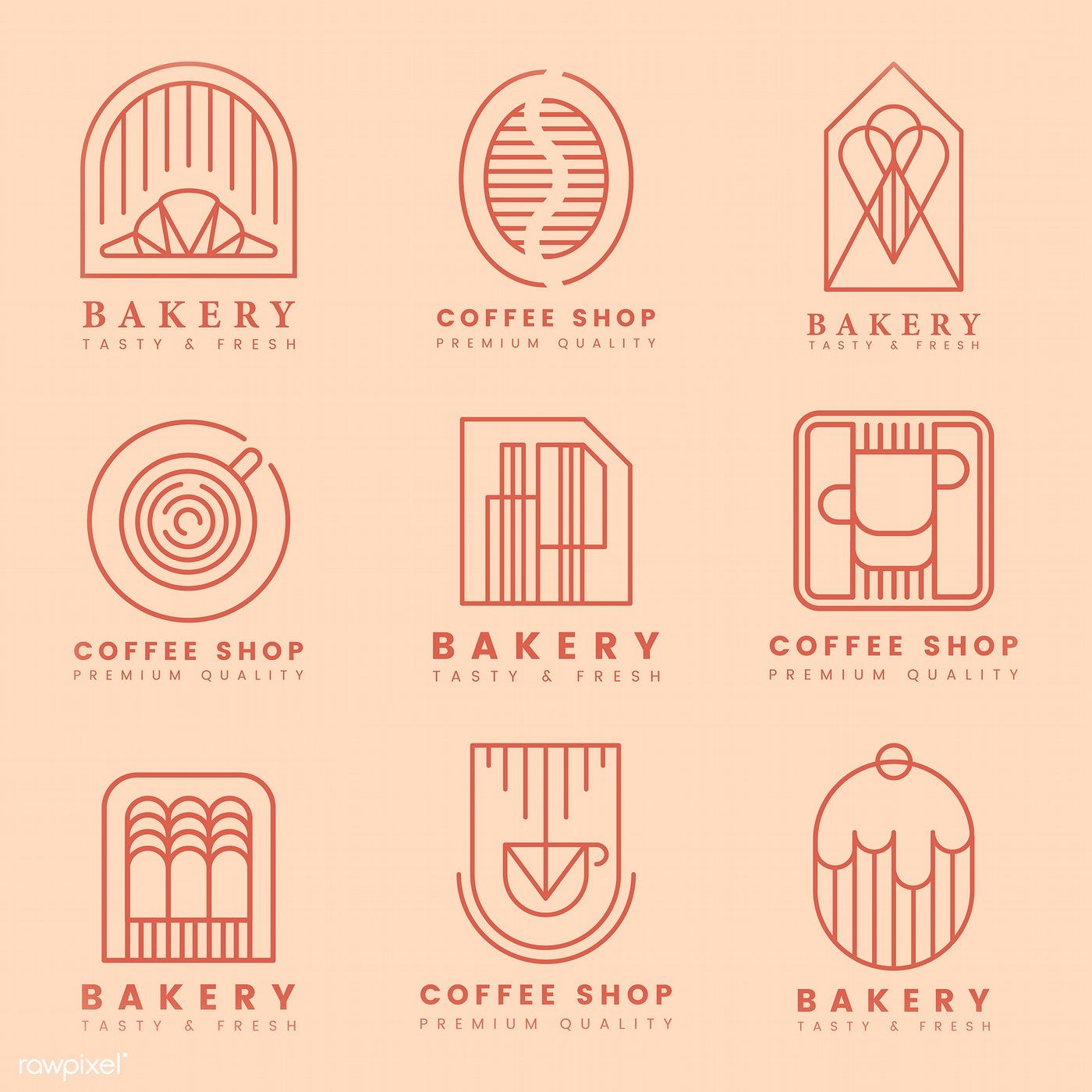 Coffee and pastry shop logo vector set | free image by