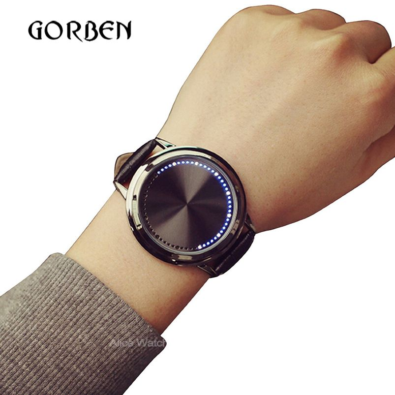2017 Moda Casual Para Hombre Relojes de pantalla Táctil LED de Los Deportes de Las Mujeres de Cuero relojes Para Hombre relojes de Pulsera relojes de regalo relogio masculino