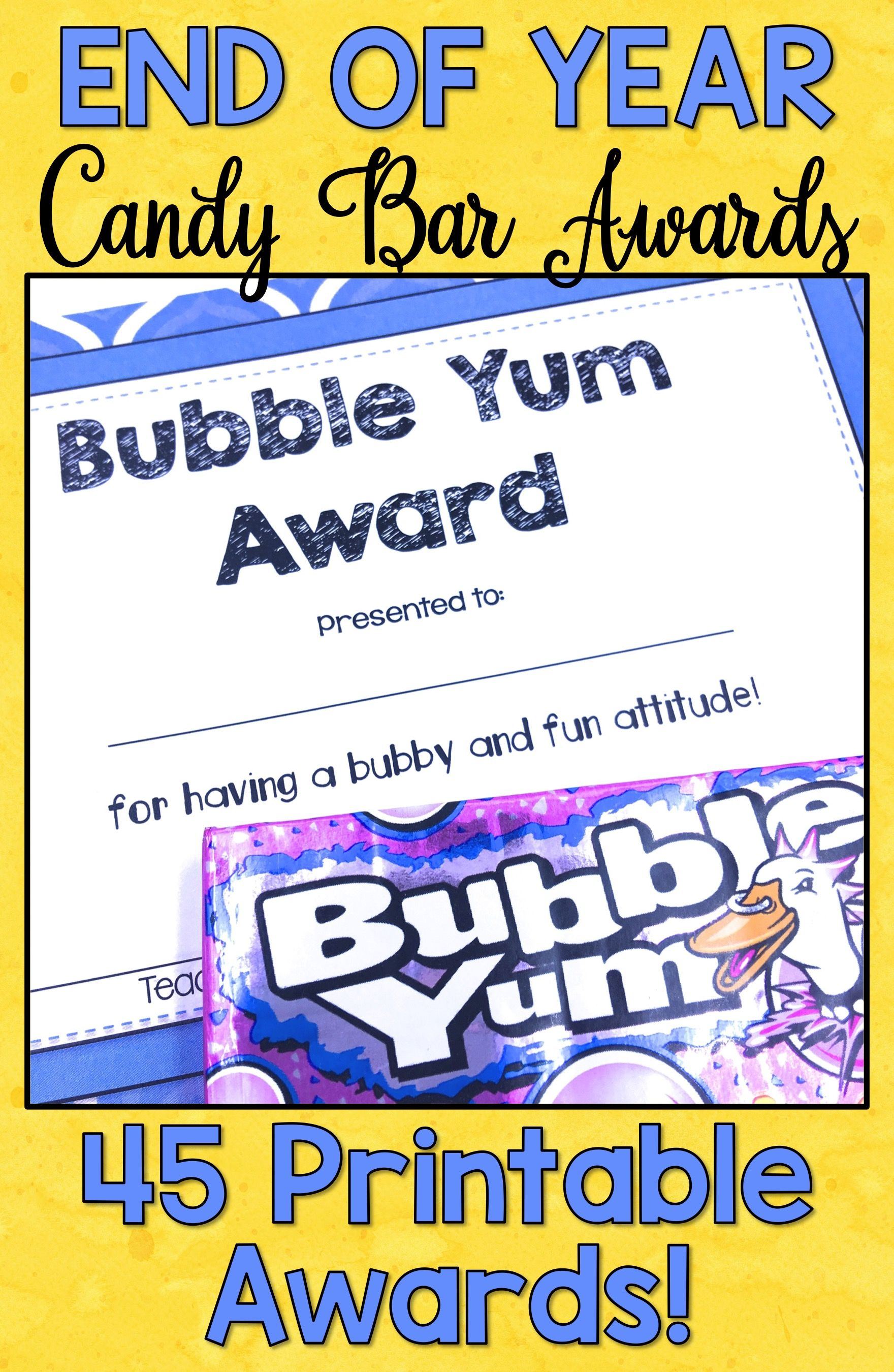 photo about Printable End of the Year Awards for Students named Conclude of Calendar year Awards Sweet Bar Awards Certificates EDITABLE