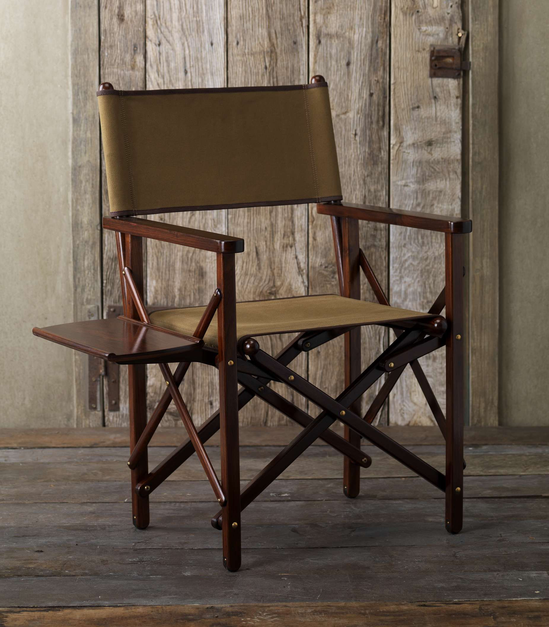 Rosewood And Canvas Folding Canvas Chair Table