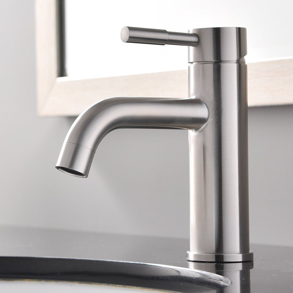 Shaco Commercial Stainless Steel Widespread Restaurant Home Single - Brushed stainless steel bathroom faucet
