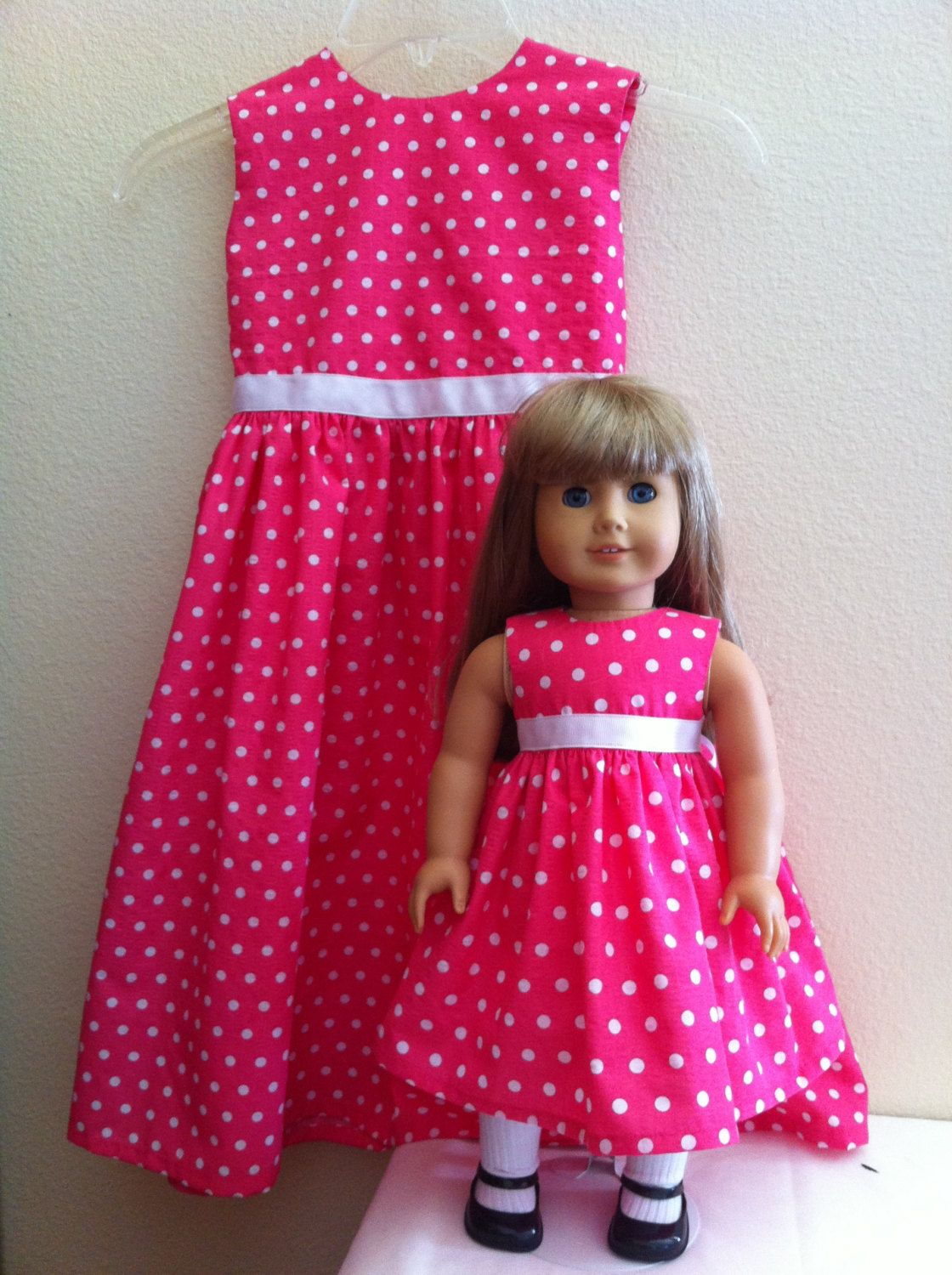 Matching Polka Dot Dresses for Child and American Girl