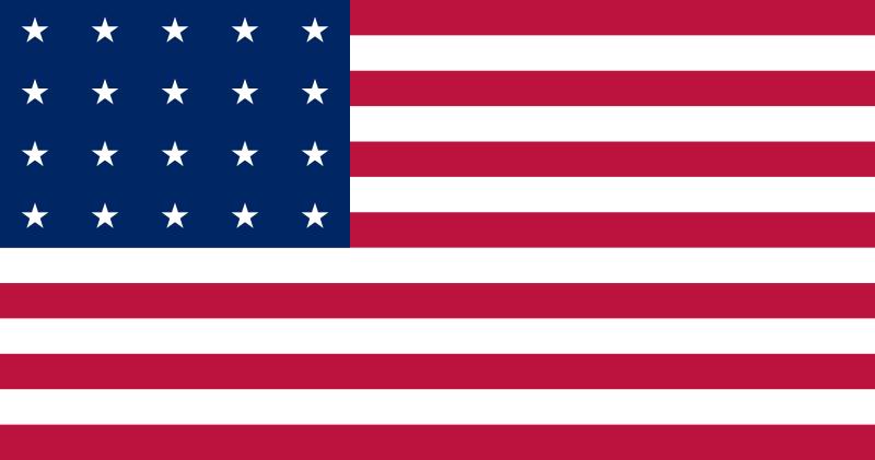 20 Star Flag Indiana Ohio American Flag History Flag United States Flag