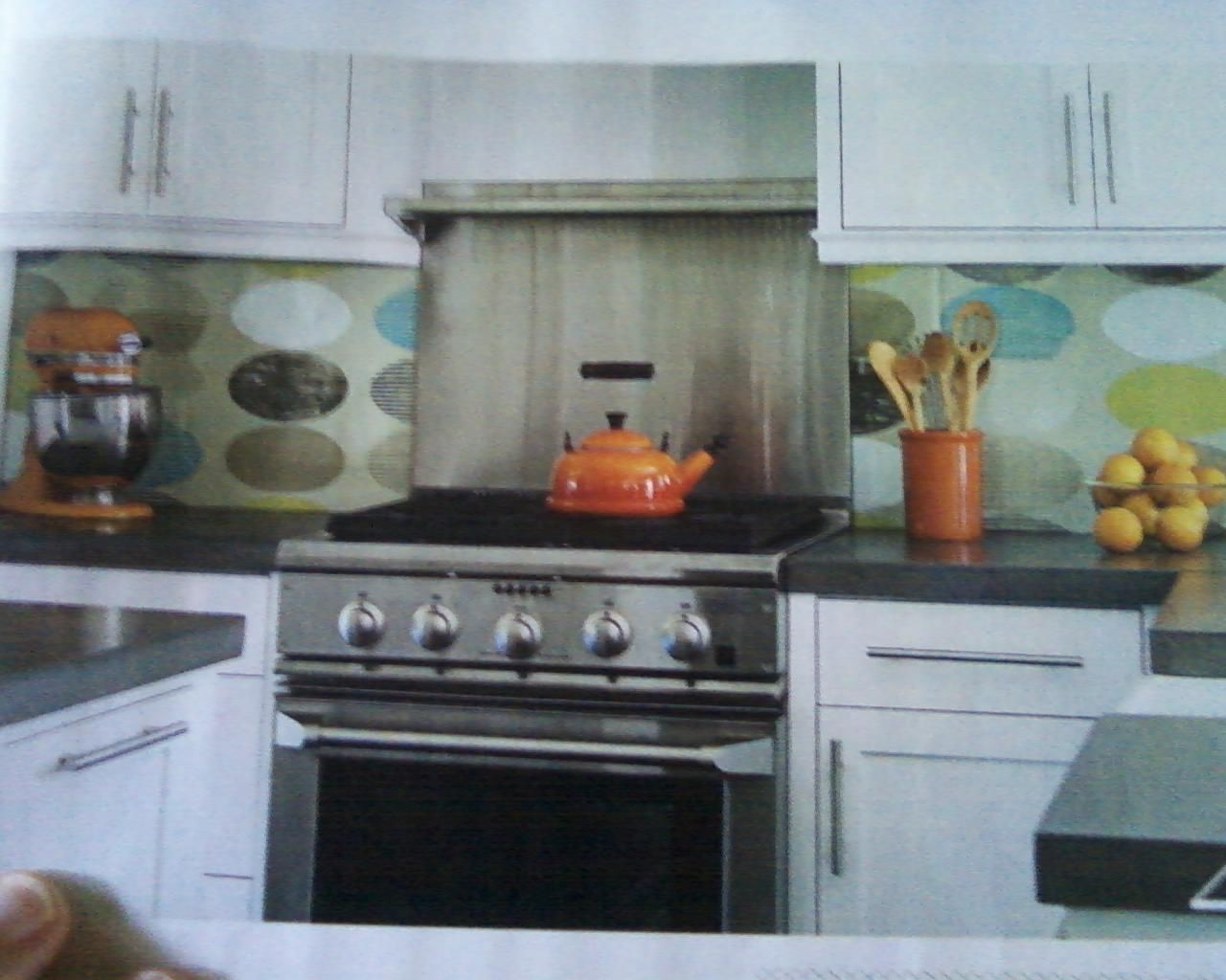Wallpaper/wrapping paper behind plexiglass backsplash ...