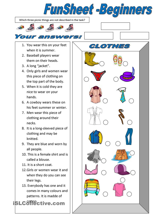 Fun Sheet Theme Clothes Clothes Worksheet Elementary Worksheets Printable Worksheets [ 1440 x 1018 Pixel ]