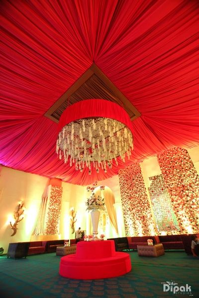 red canopy decor yellow flowers floral chandelier