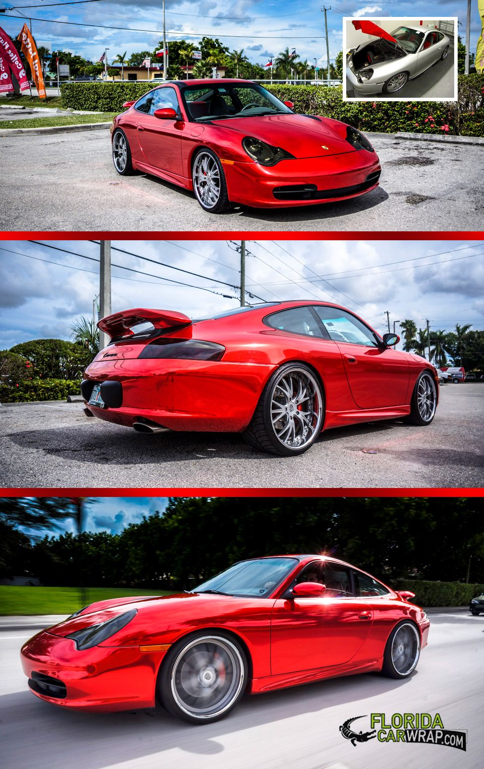 Check out this fantastic red chrome wrap from florida car