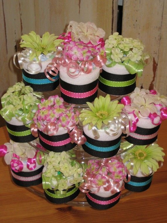 Diaper Cupcakes On A Cupcake Stand Baby Diaper Cupcakes Baby