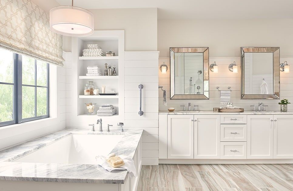 faux wood tile floor looks great with white bathroom on bathroom renovation ideas white id=39495