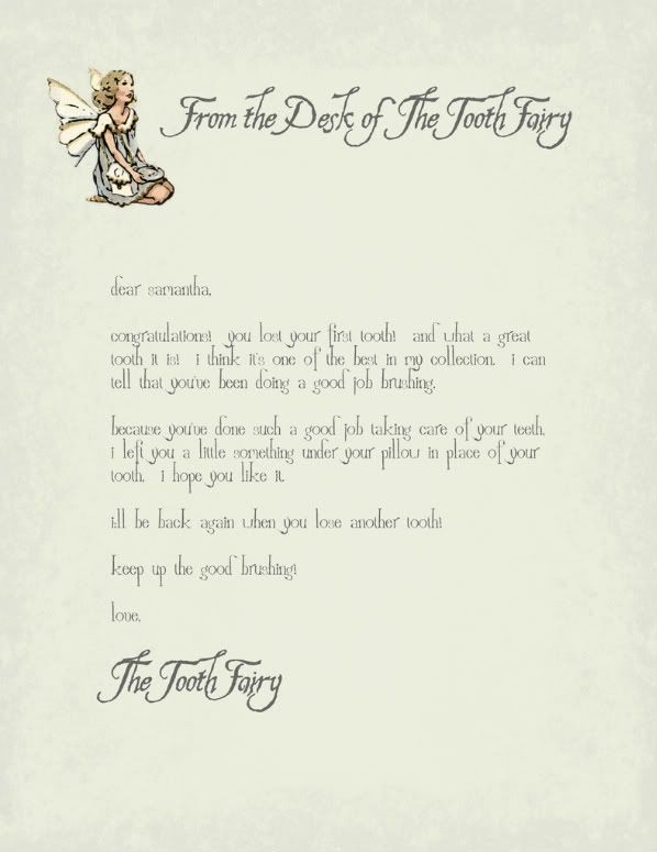 So Every Child Wonders About Tooth Fairy Tooth Fairy Letter