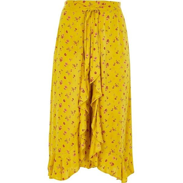 4e6b78ab9f64 River Island Plus yellow floral print wide leg trouser ($70) ❤ liked on  Polyvore featuring pants, wide leg trousers, women, yellow, floral wide leg  ...