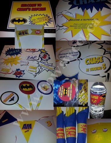 Super Hero Party - Printable Set | Sweetparties - Digital Art  on ArtFire