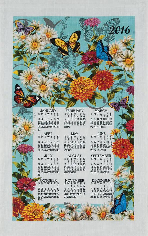 2016 Butterfly Garden Linen Calendar Towel