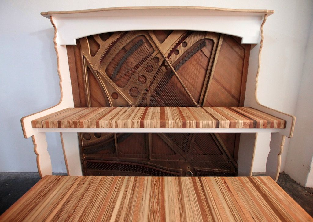 The Salvaged & Repurposed Piano | Piano desk, Vintage