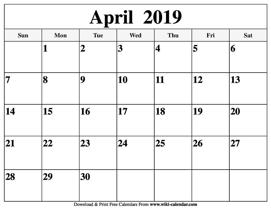 free april 2019 calendar template