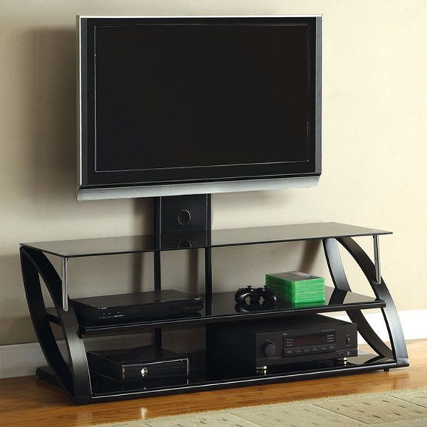 Adella Contemporary Black And Chrome 50 Inch Tv Stand Tv Stands