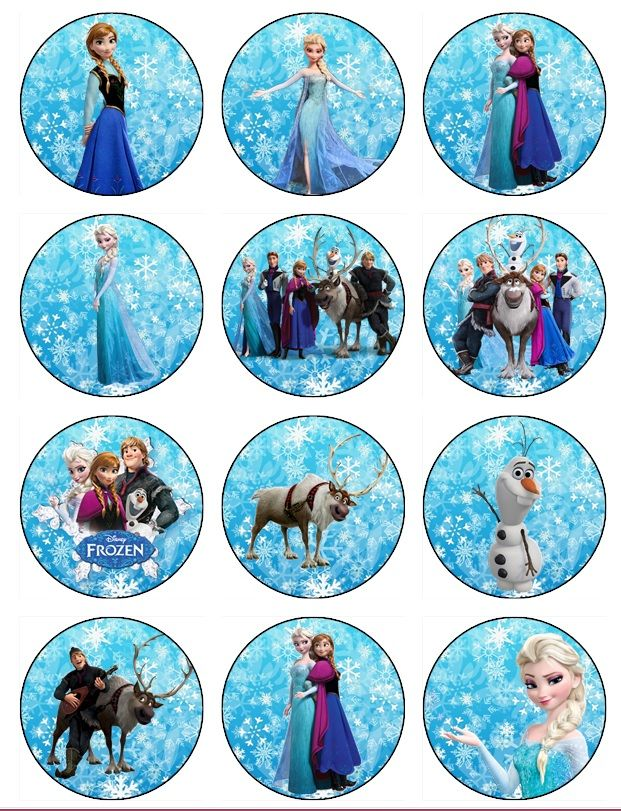Frozen birthday Edible Frozen cupcake Toppers EDIBLE IMAGE Frozen