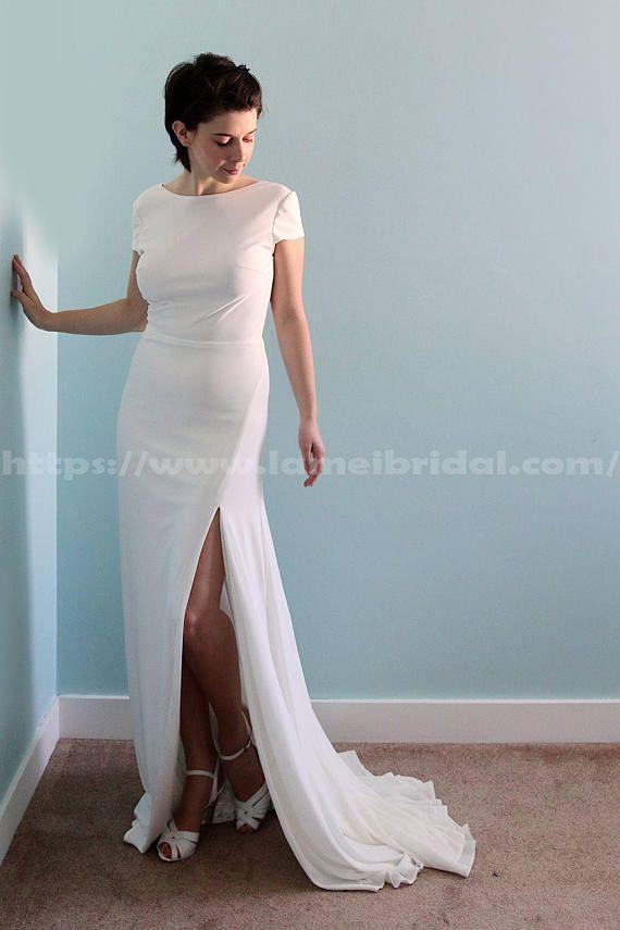 Custom Made Simple Boho Ivory White spandex Wedding Bridal Dress ...