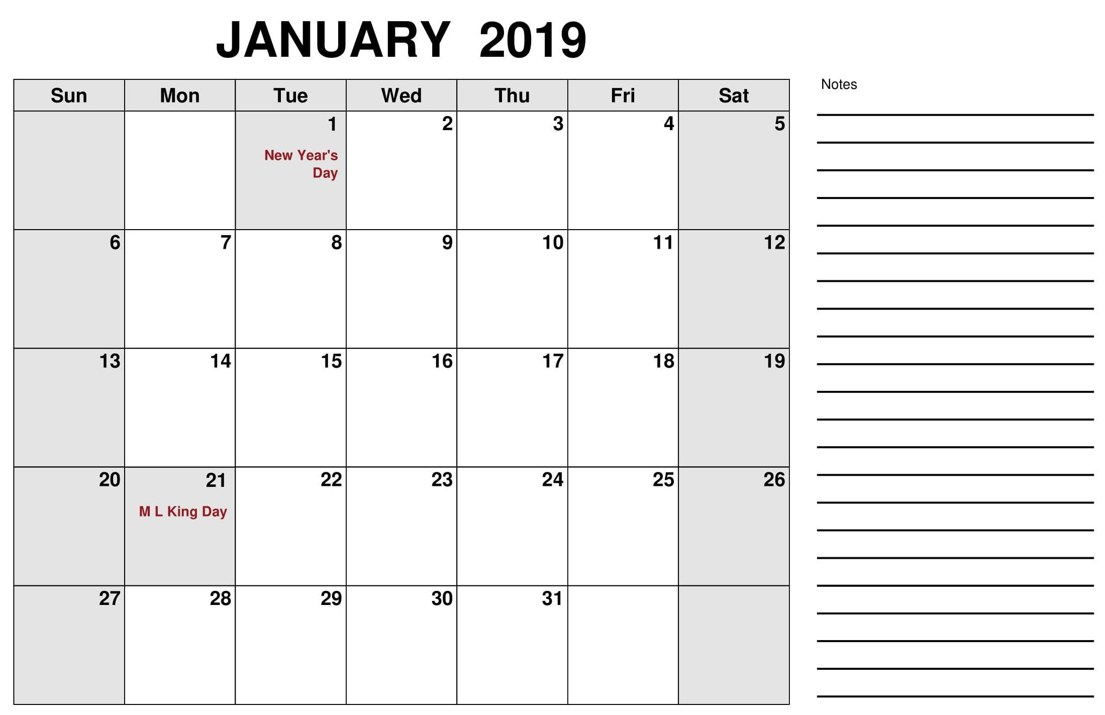 January 2019 Calendar With Holidays Us Canada Uk Australia