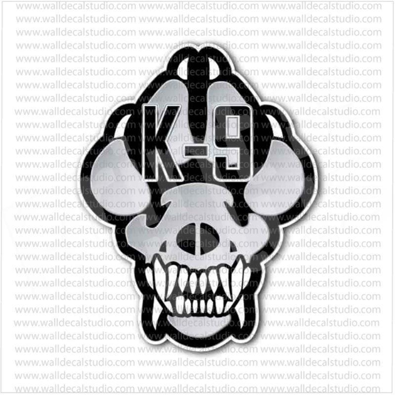 German shepherds · k9 unit police dog paw skull sticker