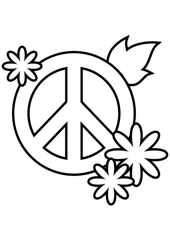 Peace Sign Coloring Pages | Peace sign drawing, Heart coloring ... | 842x595