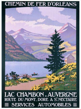 Vintage Railway Travel Poster - Lac Chambon - Auvergne - France.