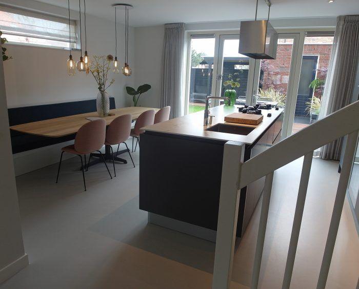 Keuken Gietvloer Marmer : Gietvloer woonkeuken interieur grijs marmer hout keuken