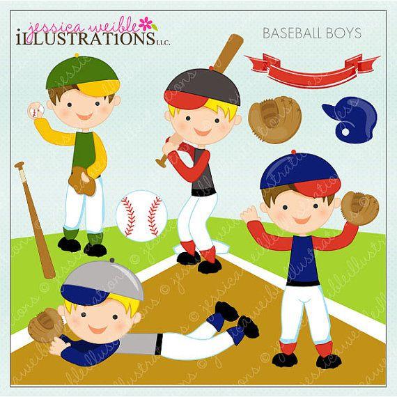 Baseball Boys Cute Digital Clipart For Card Design Etsy Kawaii Halloween Clip Art Digital Clip Art