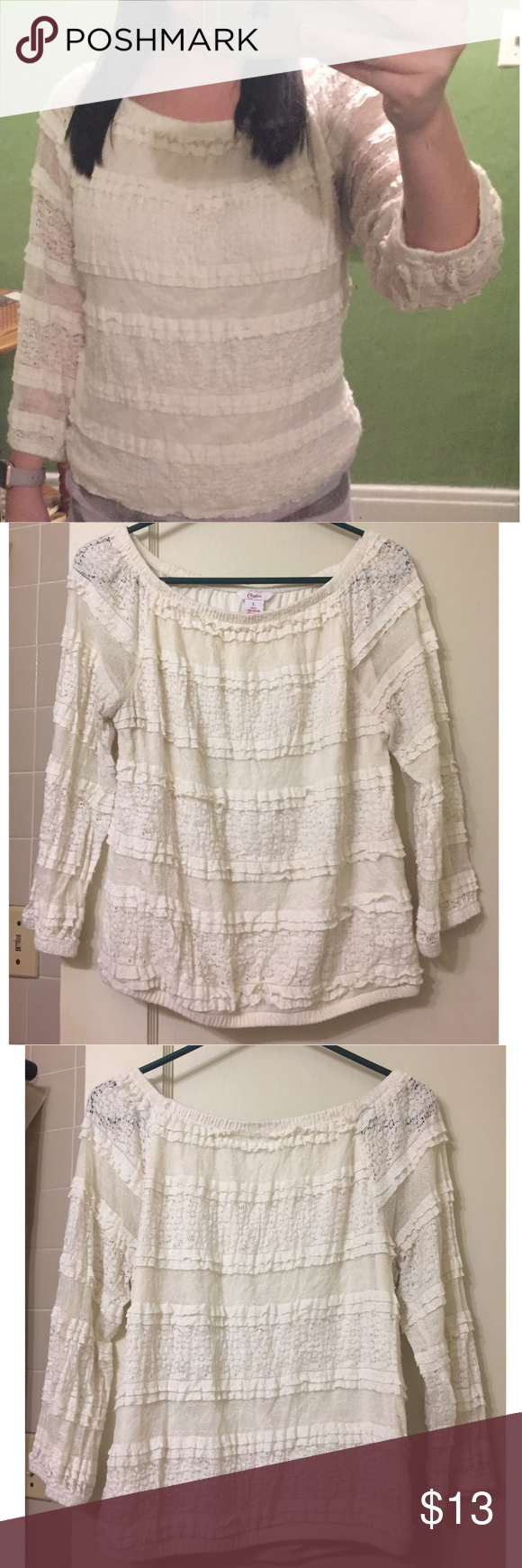 Ruffled Lace Top Juniors large ruffled with lace shirt. Arms also have ruffles and some see through fabric. Cream color/off white/beige colored. Candies brand. Shirt is a little too big for me. Interior lining under shirt. Candie's Tops Blouses