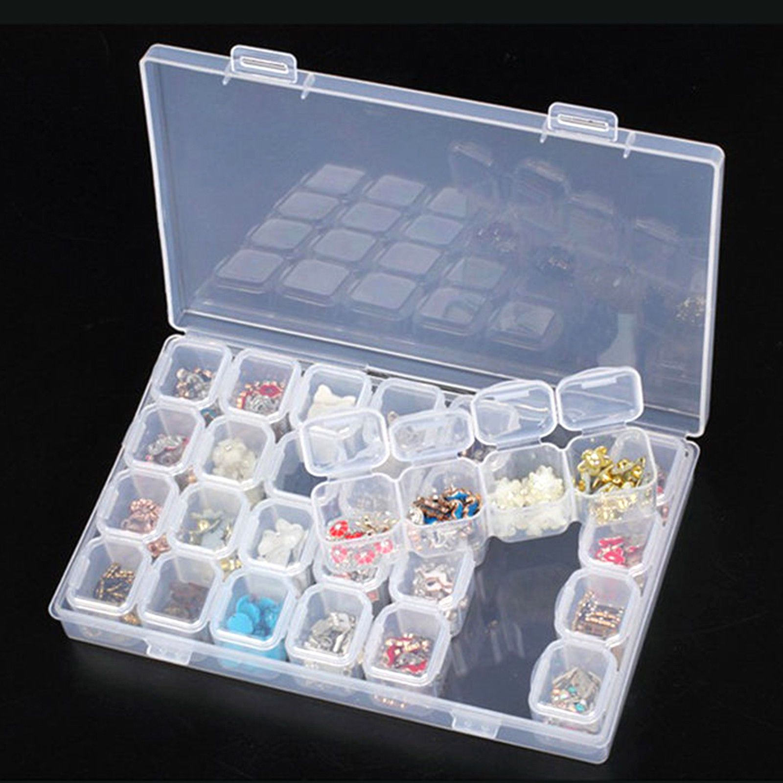 28 Jars Slots Nail Art Tips Empty Storage Box Case Jewelry Beads Organizer 131bcd562176
