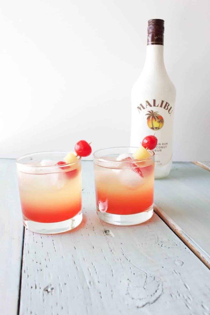 Malibu Sunset Cocktail Mixed Drink Recipe - Homemade Food Junkie