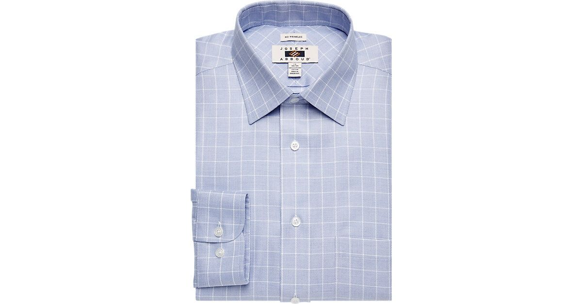 Joseph Abboud Blue Windowpane Dress Shirt Men S Classic Fit From