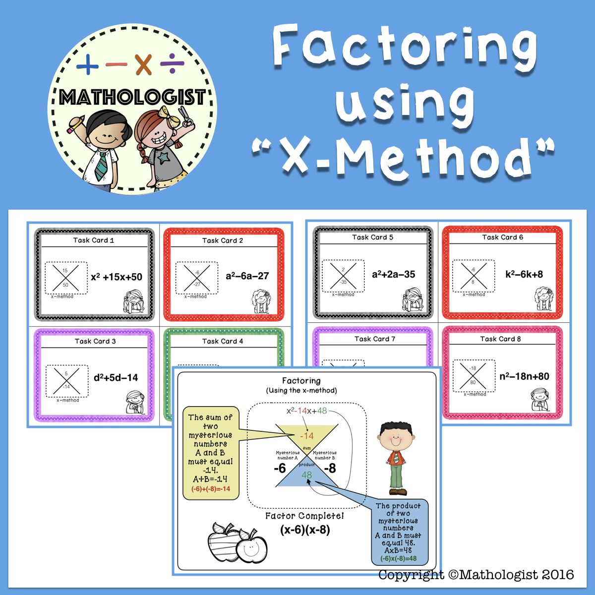 Factoring Trinomials Using The X Mthod Algebra Task