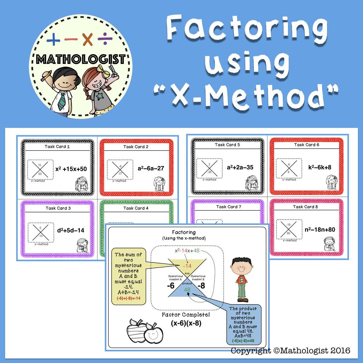 Factoring Trinomials Using The X Mthod Algebra Task