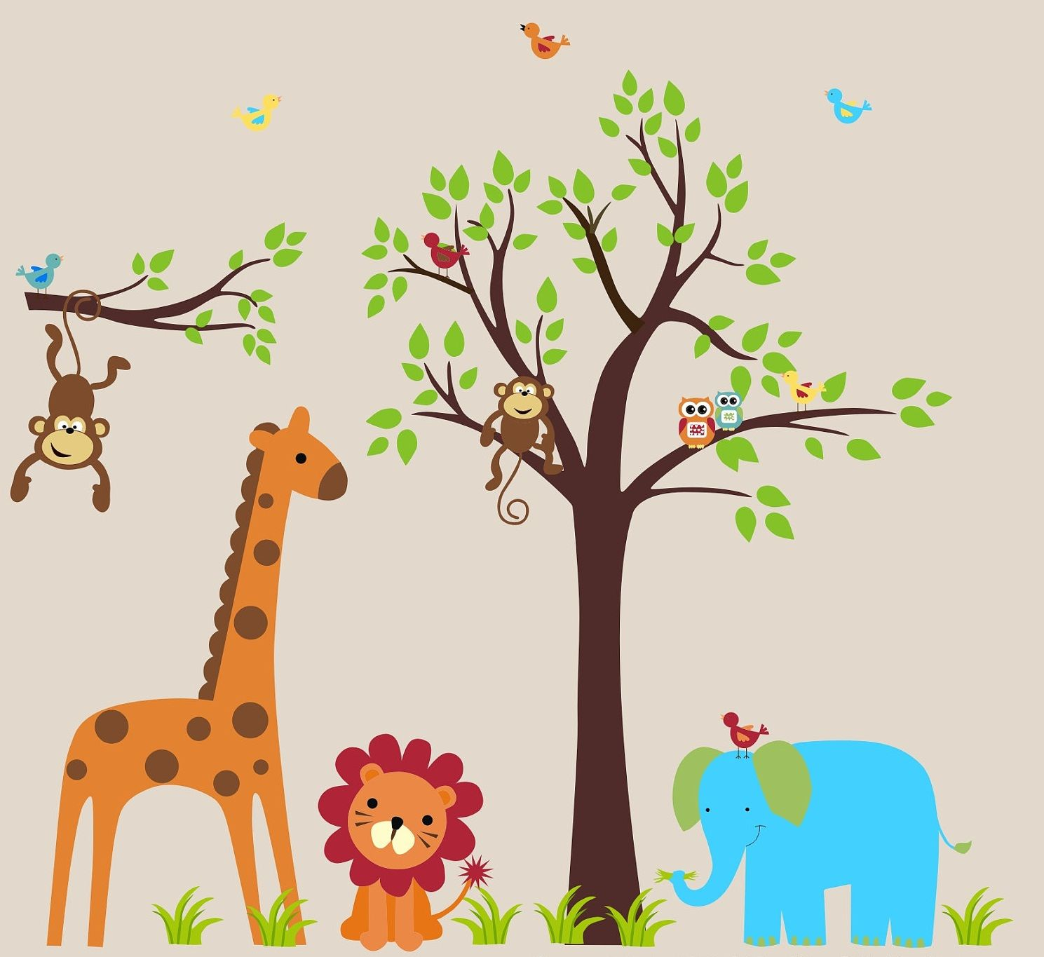 Interior Marvelous Animal Wall Decals For Kids Rooms Design Ideas - Jungle themed nursery wall decals