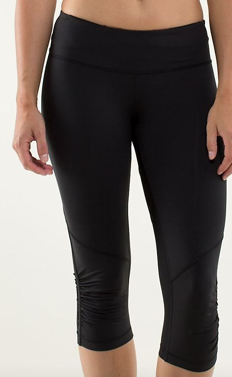 8ade23dde6419f Lululemon 8 RUN FOR YOUR LIFE We Are From Space Black Ruched Ruffle Crop  Legging #Lululemon #RunforyourlifeCrops