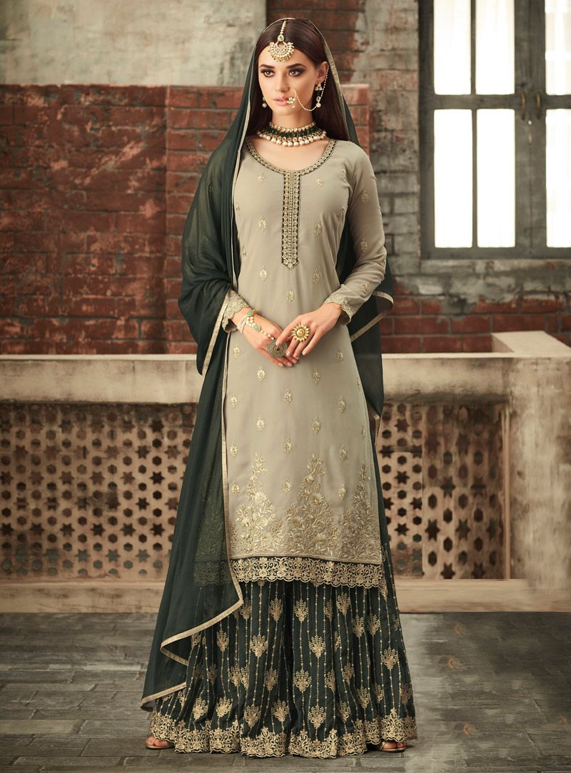 buy gray georgette palazzo style suit 148952 online at