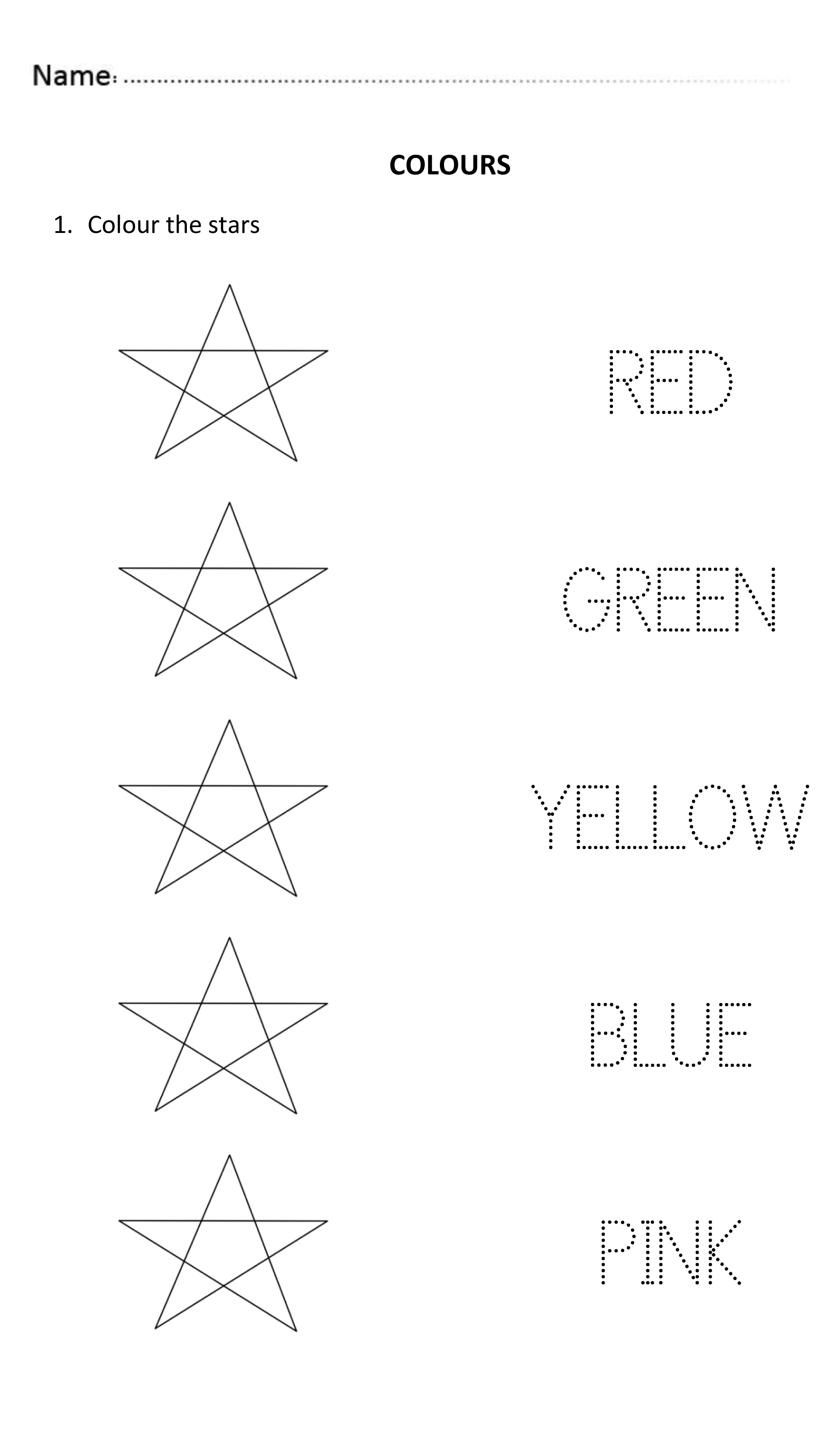 Easy And Fun Worksheet To Teach The Colours Perfect For