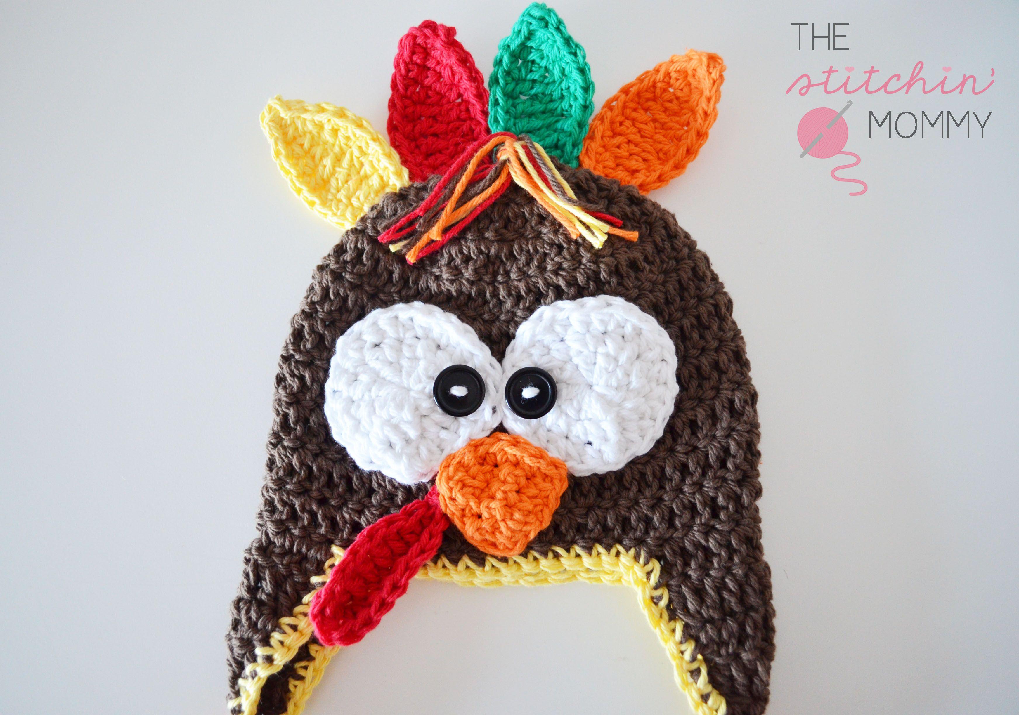 Crochet Turkey Hat - Free Pattern | Mütze, Kindermütze und Babymütze