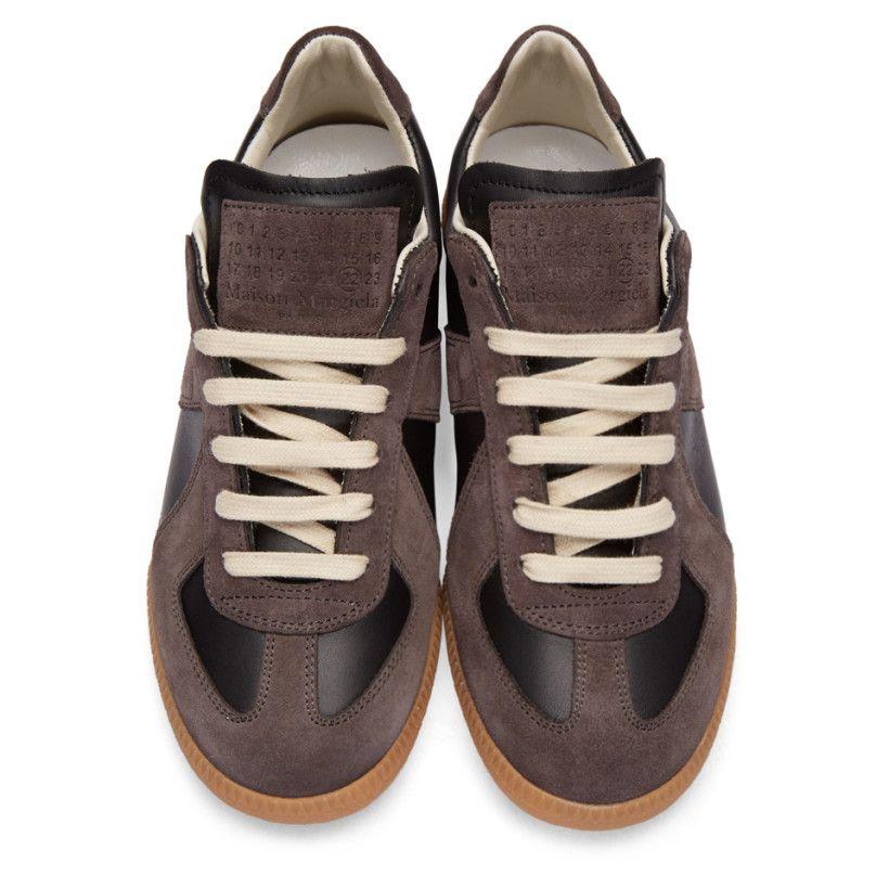 85866fd0b94 Maison Margiela - Black Calfskin & Suede Replica Sneakers | Shop ...