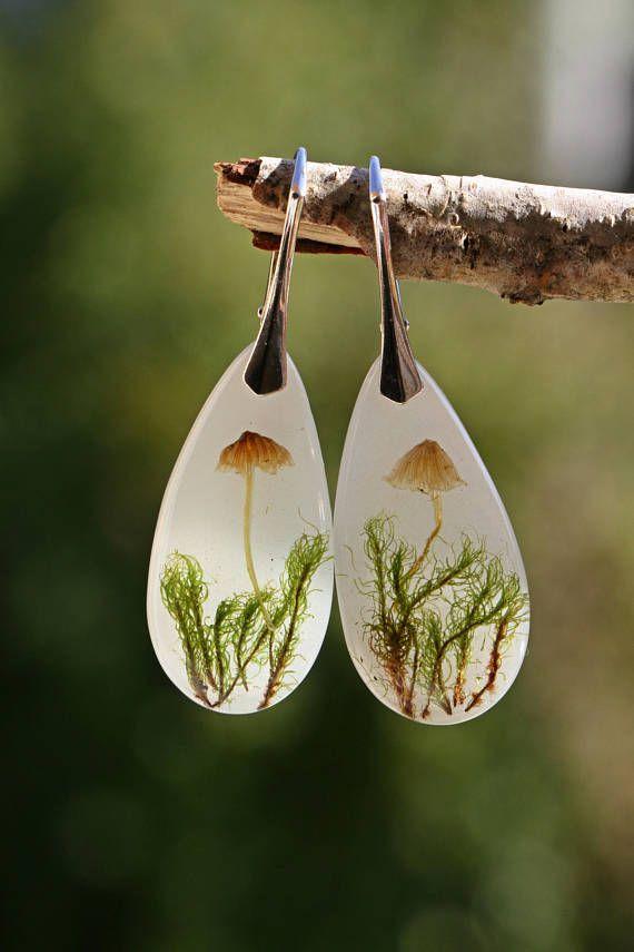 resin mushroom earrings
