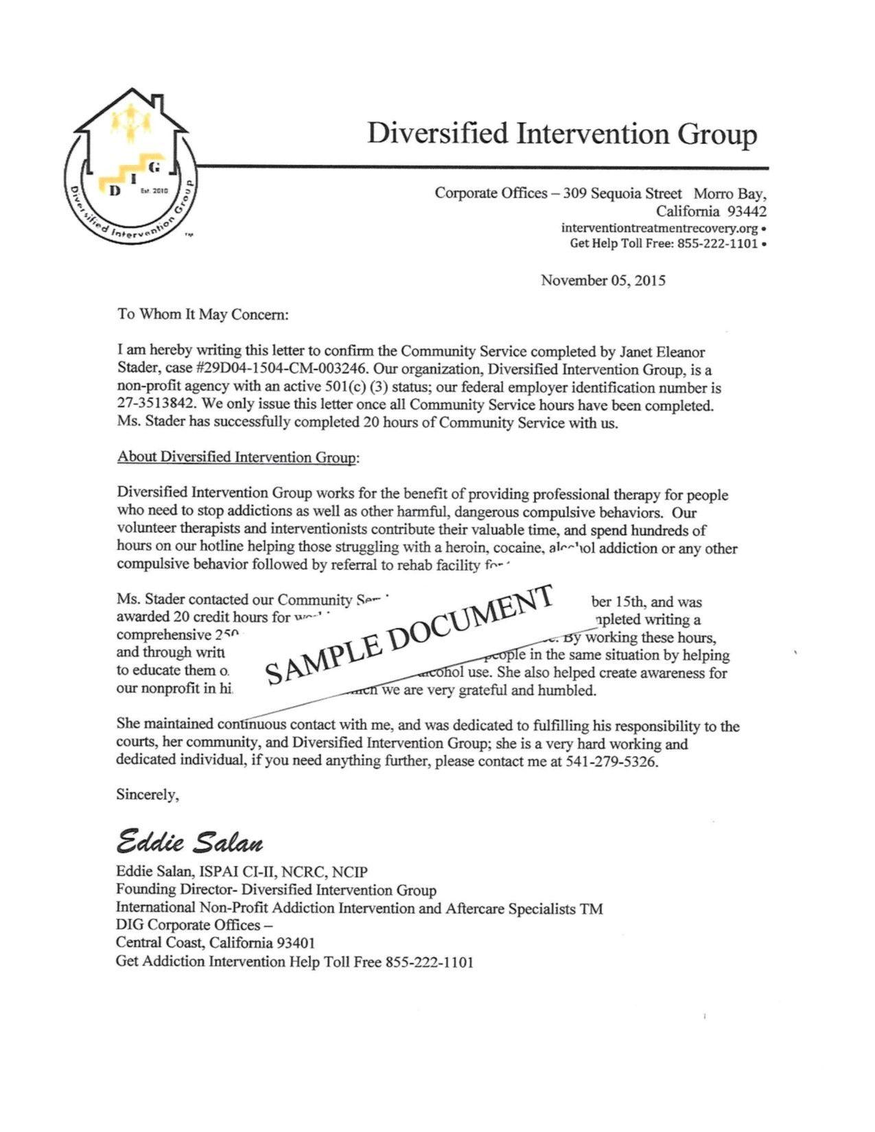 Community Service Verification Letter For Court Lovely Munity