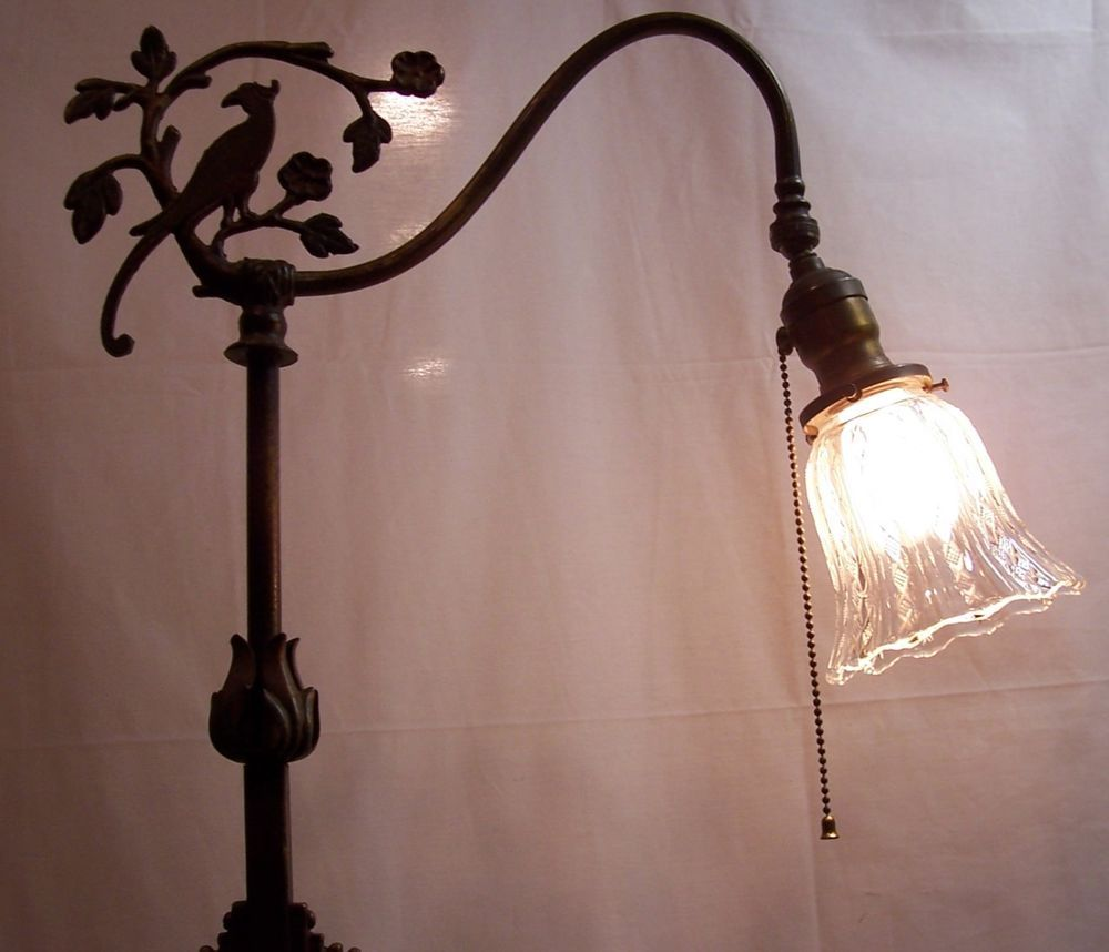 Details About Antique Floor Lamp Bridge Cast Iron Brass