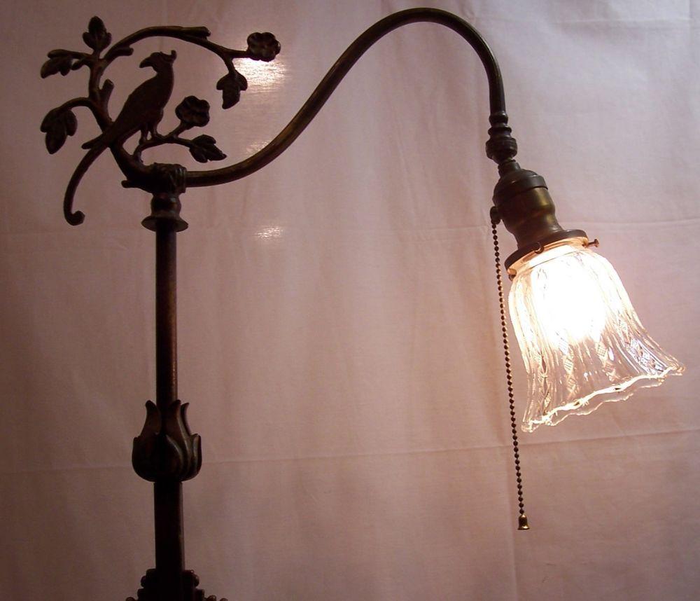 Vintage 40s cast iron metal deco industrial gooseneck desk lamp light - Antique Vtg Wellington Stone Polychrome Eapg Cast Iron Brass Floor Lamp Usa E36 Vintage Lightingelectricart Deco
