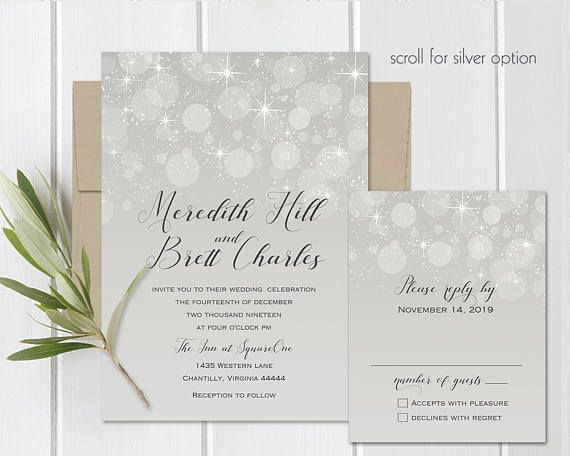 Winter Wedding Invitation Set Printable Bokeh Lights Silver or gold options