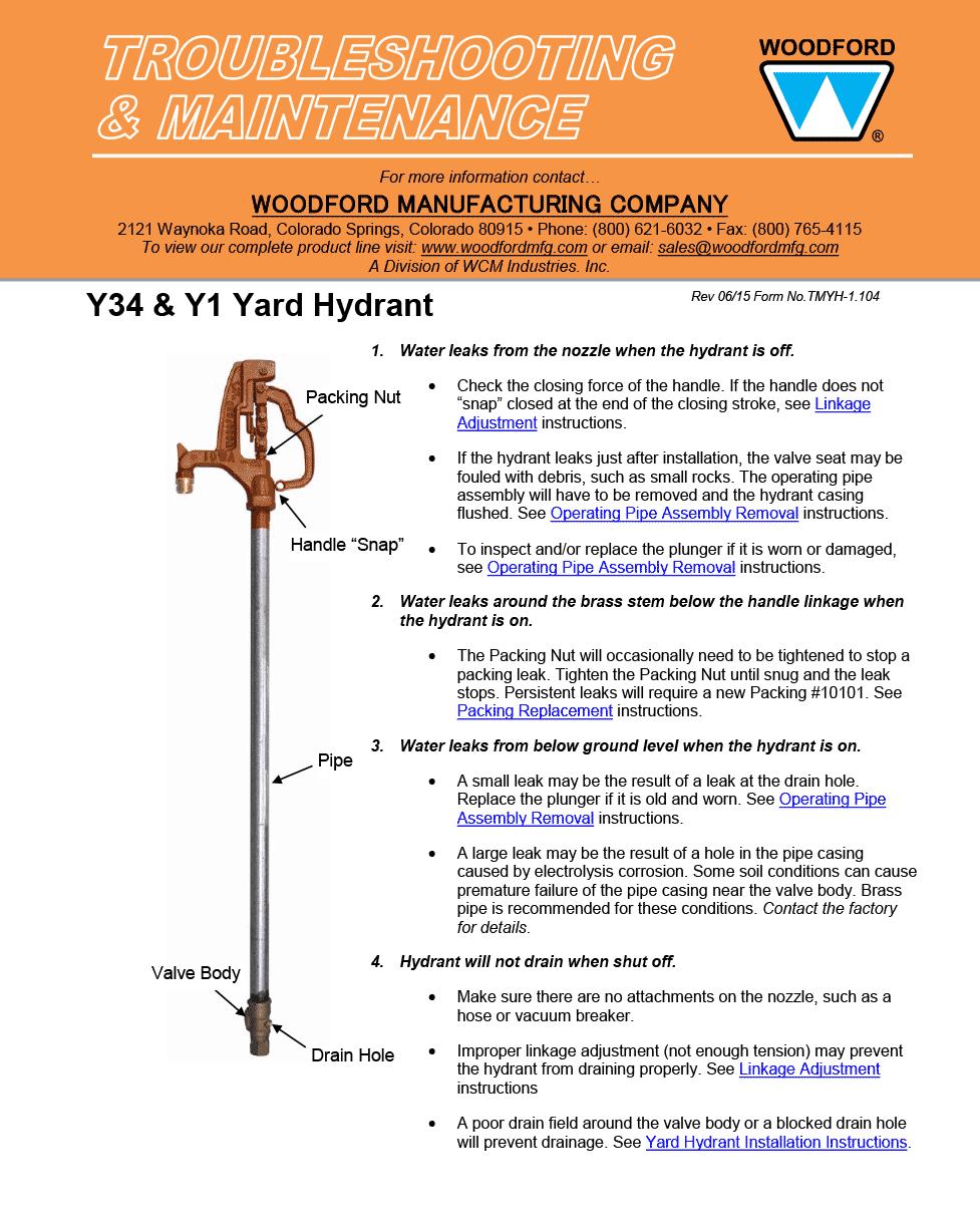 Woodford Model Y34 Y1 Freezeless Yard Hydrant Heating A Greenhouse Yard Hydrant