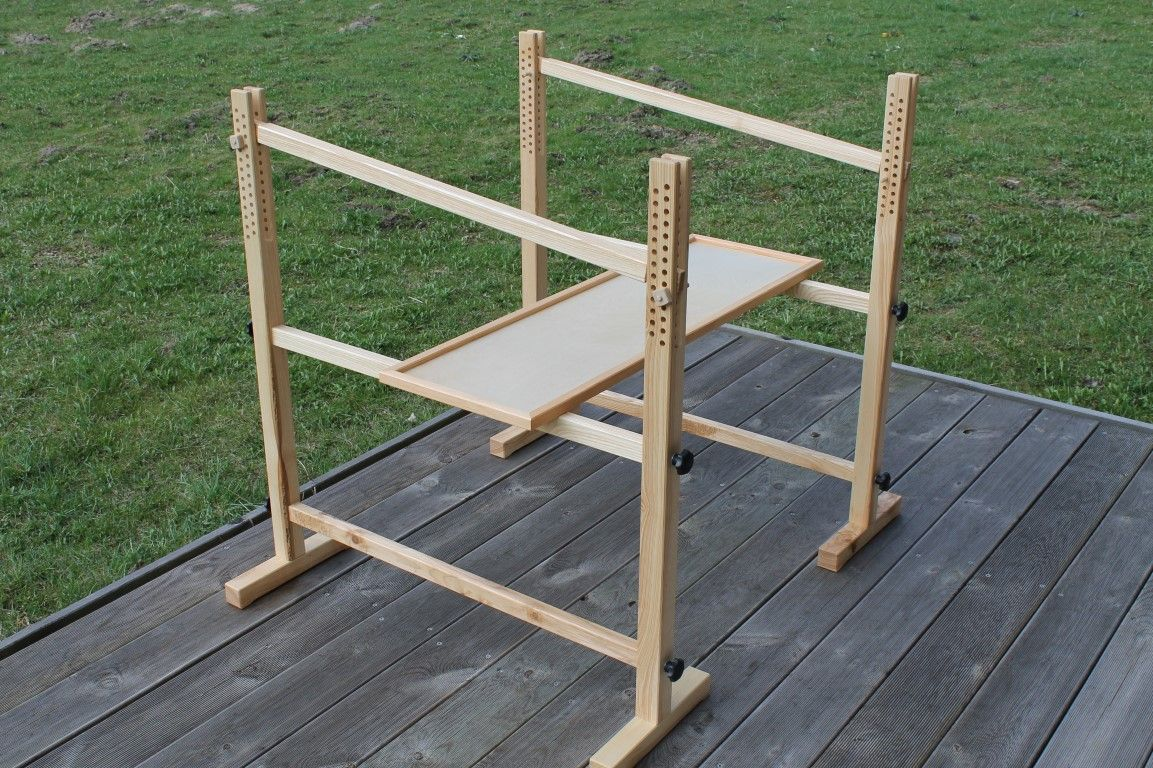 stickb cke mit ablage f r werkzeug und materialien embroidery trestle with board to put tools a. Black Bedroom Furniture Sets. Home Design Ideas