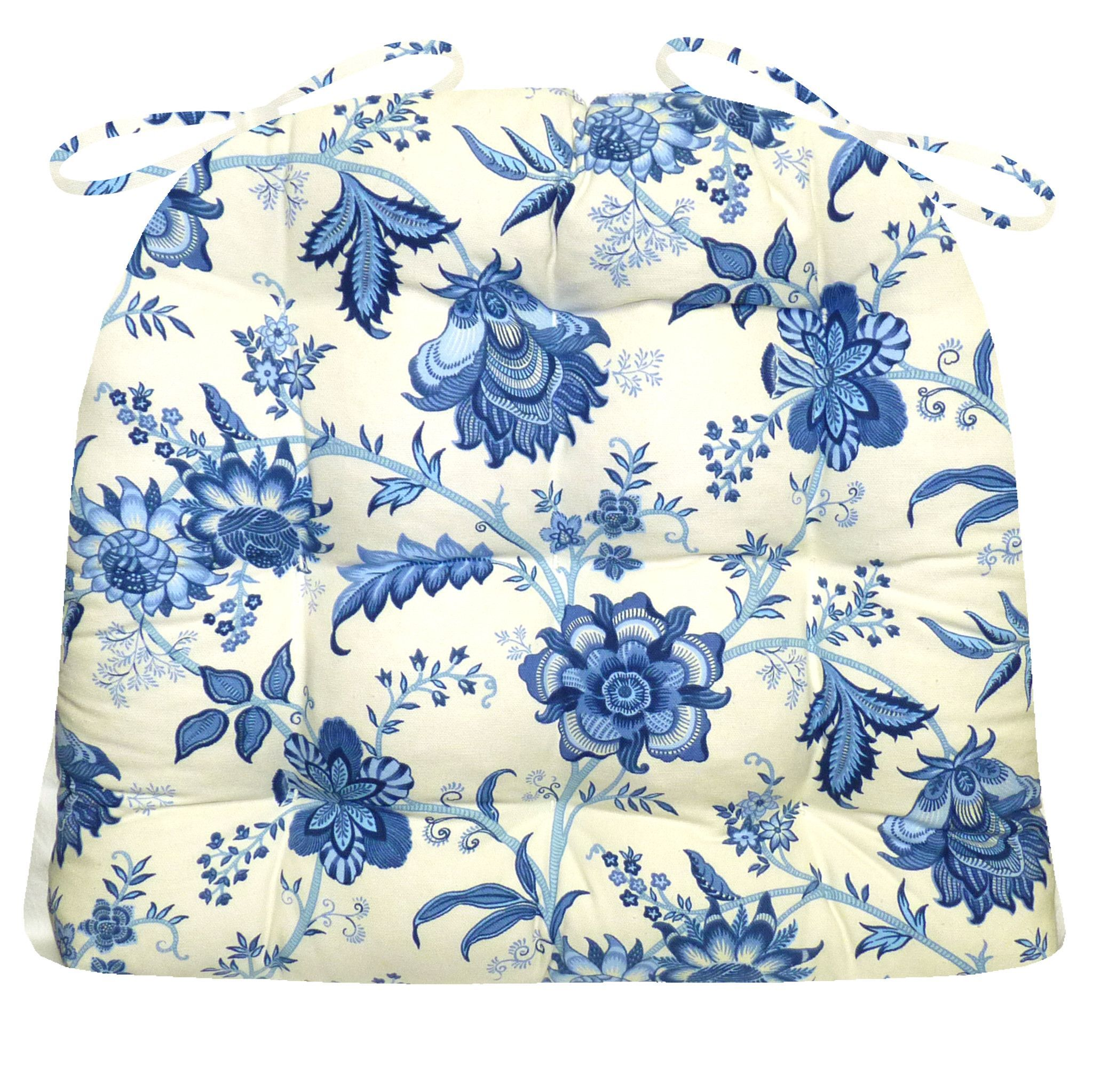 Traditional China Patterns jacobean gem blue colonial floral print dining chair pads - latex