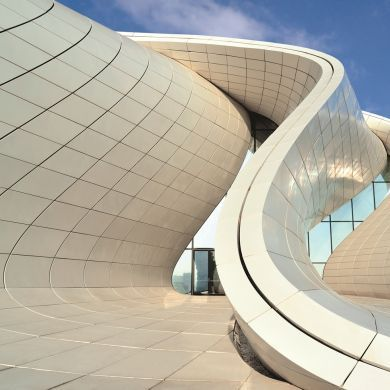 The Multi Layered Rhythmic Exterior Of Heydar Aliyev Center In