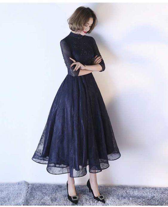 c555c4d3b85ec 袖ありミモレ丈ドレス 二次会ドレス 花嫁 パーティドレス 結婚式 二次会 ドレス 成人式 忘年会 披露宴 お呼ばれドレス